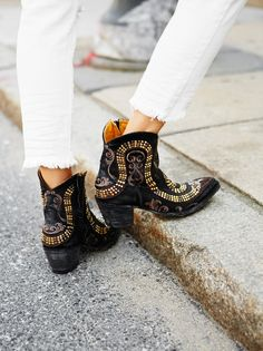Spirit Ranch Boot | Super luxe cowboy boots featuring a fierce snake design with embroidery, studs, and faceted metal studs. Inside zip for an easy on/off.