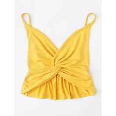Twist Front Cami Top ($8) ❤ liked on Polyvore featuring tops, summer tank tops, v neck camisole, cami tank, yellow tank top and ruffle crop top