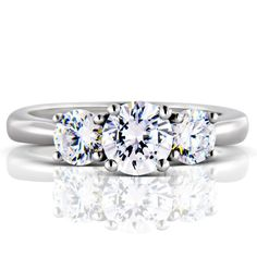 A cool looking three-stone platinum engagement ring.