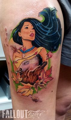 Pocahontas - Can you paint with all the colors of the wind? Tattoo Foto, Tattoo Henna, Sick Tattoo, Gorgeous Tattoos, Cute Tattoos, Body Art Tattoos, Sleeve Tattoos, Fallout Tattoo, Modern Tattoos