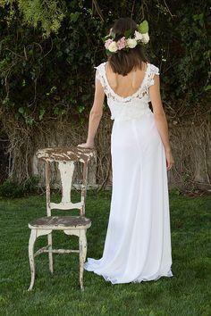 2 Piece Wedding Dress Bohemian. crochet lace by Dreamersandlovers