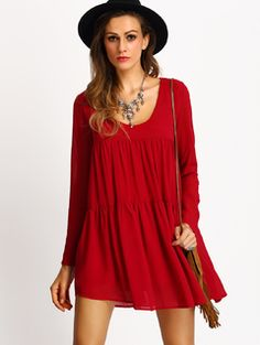 Online shopping for V Neck Flowy Pleated Dress RED from a great selection of women's fashion clothing & more at MakeMeChic.COM.