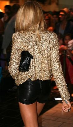 Sequin and leather...I would totally rock this outfit IF I had somewhere to wear it....ugh!!