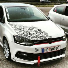 Volkswagen Golf R partial Sticker Bomb black and white Volkswagen Jetta, Jetta A4, Volkswagen Group, Fiat 600, Car Stickers, Car Decals, Vw Polo Modified, Auto Styling, Vw Golf R