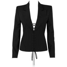 "Preowned Alexander Mcqueen S/s 2002 ""dance Of The Twisted Bull"" Black... (10,305 MYR) ❤ liked on Polyvore featuring outerwear, jackets, blazers, black, button blazer, short-sleeve blazers, alexander mcqueen blazer, collar jacket and button jacket"