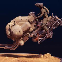 SUNFLOWER sci-fi hover bike, Paul Pepera on ArtStation at https://www.artstation.com/artwork/rZ2dL