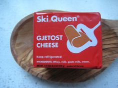 Norwegian gjetost (yay-toost) means goat cheese and is known in Norway as brunost, brown cheese. The flavor is distinct... people adore it or not -LOL! I like it  : )  According to Nancy's Kale & Cardamom blog... Gjetost is mostly whey, cow's and goat's milk, and cream boiled for hours until nearly all the water evaporates and the milk sugar (lactose) caramelizes. In Scandinavia, gjetost is eaten at breakfast in thin slices or curls on buttered toast or flatbread w/ fresh fruit or preserves.