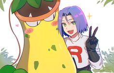 Victreebel and James, by Apple Brk - Poke Ball Pokemon Jessie And James, James Pokemon, Pokemon Memes, Cute Pokemon, Pokemon Cards, Yo Kai Watch Kyubi, Team Rocket James, Equipe Rocket, Pokemon Team Rocket