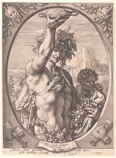 Articolo su Labyrinth - 'Bacchus' engraving by Hendrick Goltzius (Dutch, Mühlbracht 1558-1617 Haarlem) .