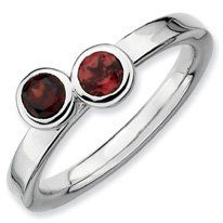 0.69ct Timeless Silver Stackable Db Round Garnet Ring. Sizes 5-10 Available Jewelry Pot. $28.99. Your item will be shipped the same or next weekday!. Fabulous Promotions and Discounts!. 30 Day Money Back Guarantee. All Genuine Diamonds, Gemstones, Materials, and Precious Metals. 100% Satisfaction Guarantee. Questions? Call 866-923-4446