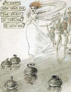 "the ""spirit"" of curling. Curling, Happy New Year, Illustration Art, Vintage Illustrations, Illustrators, Original Artwork, Fantasy Art, Spirit, The Originals"
