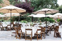 Reception Tables Wood Chairs White Linen Tall Umbrellas | Centerville-Estate-Wedding-Photographer-Chico-California-TréCreative