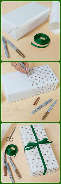 4 Whimsical Gift Wrapping Ideas 4 Whimsical Gift Wrapping Ideas in Wonderland Cho / Oh Joy! uses solid wrapping paper and a Sharpie to personalize gifts.