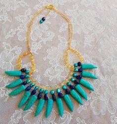 Citrine NecklaceLapis Lazuli Necklace Howlite by SweetgemsDesign Diy Necklace, Collar Necklace, Gemstone Necklace, Diy Jewelry, Jewelery, Jewelry Accessories, Citrine Gemstone, Bracelet Patterns, Lapis Lazuli