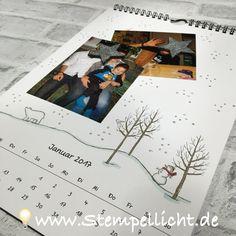 Fotokalender mit verschiedenen Stampin´Up Stempelsets gestaltet.