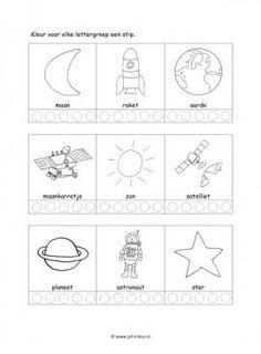 Dit taal werkblad en nog veel meer in het thema ruimte kun je downloaden op de website van Juf Milou. Space Activities For Kids, Book Activities, Space Party, Space Theme, Out Of This World, Solar System, Homeschool, Letters, Teaching