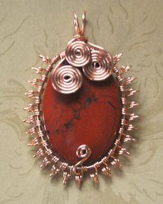 Starburst Copper Wire Wrapped Red Jasper Stone Pendant. $40.00, via Etsy.