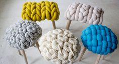 le crochet ou le tricot mélanger au bois brut