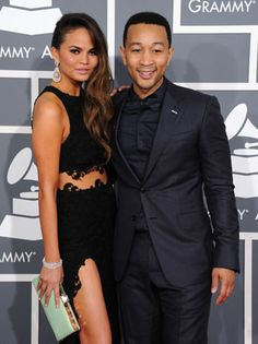 Christine Teigen in Joy Cioci and John Legend #grammys2013
