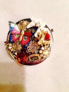 Vintage Brooch Compact Mirror on Etsy, $45.00