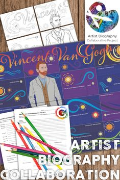 This Vincent Van Gogh Biography Project is filled with all you need to teach your students about one of the most famous artists of all time. This artist biography project is a collaborative research activity. Each student fills out two detailed research worksheets before beginning their piece of the collaborative poster. Finally students work together to put the poster together and display. Van Gogh Paintings Biography Project, Artist Biography, Middle School Art Projects, Art School, Artist Project, Art Curriculum, Art Lesson Plans, Art Classroom, Art Activities