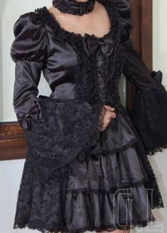 Black Goth Gothic Punk Short Satin Long Sleeve Wedding Dress