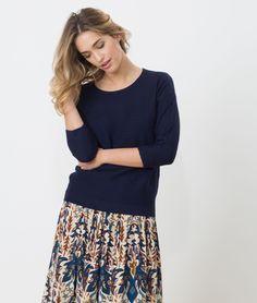 1.2.3 Paris - Les looks printemps-été 2017 - #Pull #bleu foncé manches longues Hélice 69€ #123paris #mode #fashion #shopping #ootd #maille #knit #knitwear #blue #prints