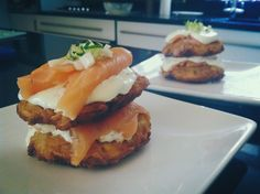 Potato Rostis stacked with smoked salmon, soured cream and spring onions. Tasty Breakfast ideas.