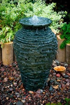 Aquascape 98939 Small Stacked Slate Urn Fountain For Landscape And Gardens, 32 Inches Tall, 2015 Amazon Top Rated Pond Décor #Lawn&Patio