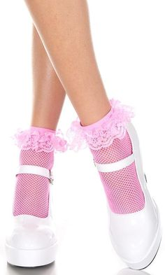 Music Legs Fishnet Anklet With Ruffle Trim Neon Pink. Sweet ankle high socks with lacy ruffle in vibrant neon pink fishnet. Sexy Socks, Cute Socks, Black Socks, Men's Socks, Fishnet Ankle Socks, Tights, Frilly Socks, Pink Socks, Sexy Legs And Heels
