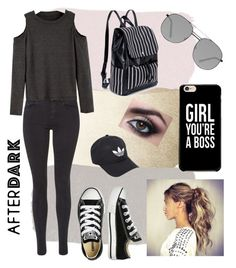 """Night on the town"" by crimson-styler333 on Polyvore featuring Maison Scotch, Converse, Elizabeth and James and adidas"