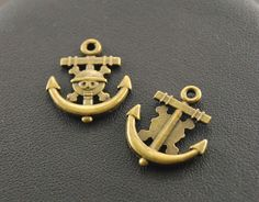 BULK CHARMS    15 Pieces - Antique Bronze Pirate Anchor Charms    FREE DELIVERY
