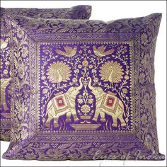 "2 17"" INDIAN ELEPHANT BROCADE CUSHION PILLOW COVERS ETHNIC India Decoration Art 