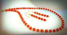 Orange CORAL NECKLACE Earrings SUMMER Necklace by GECHELINE