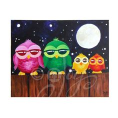 "11""x14"" original painting, Owls on A Fence #2. Decor art for home, office or kids rooms. This is a one of a kind original acrylic painting of 4 colorful owls on a fence. The family of owls sit beneath the starry night sky, the full moon hanging above them. Edges of the gallery wrapped canvas are painted a soft yellow to give the piece a framed appearance. It's ready to ship and ready hang, no framing needed! © nJoy Art / All rights reserved. Artwork may not be reproduced in any way…"