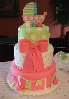 WOWOW .. Another GREAT idea for a girl baby shower cake ! you could change the colours around too to make it for a boy ! :)