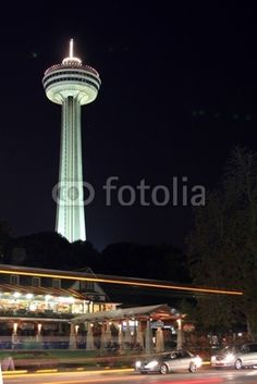 Skylon tower in Niagra Falls, Canada, lit up at night