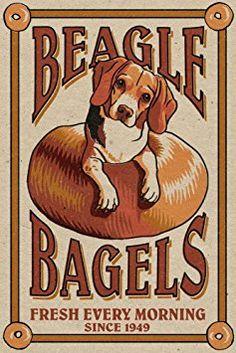 Beagle Bagels - Retro Ad (12x18 Art Print, Wall Decor Travel Poster)