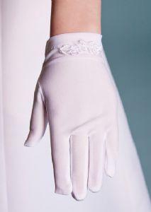 First Holy Communion Gloves - Matt Satin Flower Embroidered Trim - LG51 Linzi Jay - Girls Wrist Length Communion Gloves