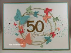 Love the circle of Butterflies on this 50th Birthday card!