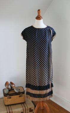 1920s Navy Blue and Nude Ruffled Silk Dress