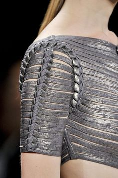 knitgrandeur:    Laced & Lacquered  Hervé Léger by Max Azria Spring 2012