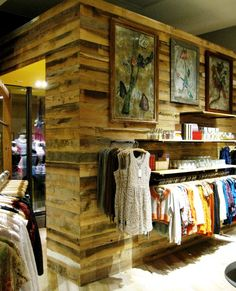 Custom reclaimed paneling provides the backdrop around the NYC location of a national retailer.