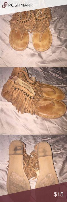 not rated fringe sandals Brown fringe sandals Not Rated Shoes Sandals