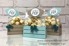 Wood Crate Framelits, Ready to Pop, Baby Shower Favors, Stampin' Up! Best Baby Shower Favors, Baby Shower Treats, Pop Baby Showers, Baby Shower Cards, Ready To Pop, Wood Crates, Scrapbooking, Baby Crafts, Craft Fairs