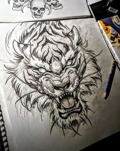 Tiger Tattoo - Madhusudan Kale Tiger Tattoo Source You are in the right place about Illustrations wa Irezumi Tattoos, Leg Tattoos, Body Art Tattoos, Sleeve Tattoos, Tattoos For Guys, Tiger Drawing, Tiger Art, Tiger Sketch, Tattoo On