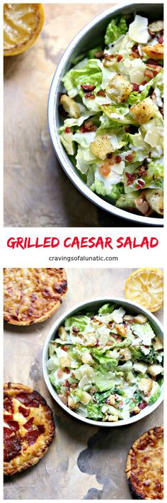Grilled Caesar Salad from cravingsofalunatic.com- This recipe for Grilled Caesar Salad is out of this world. The lettuce and bread are cooked on the grill for optimal flavor. This is my daughter's favorite salad recipe. #sponsored by Red Baron Pizza