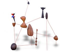 Alexander Calder, Vertical Constellation with Bomb, 1943, painted steel wire, painted wood, and wood, National Gallery of Art, Washington, Gift of Mr. and Mrs. Klaus G. Perls 1996.120.8