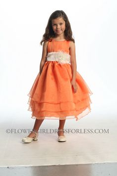 Orange with brown sash and burgandy flower - Flower Girl Dress For Less