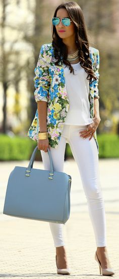 Love an all white outfit. The floral blazer is a nice touch but not my style
